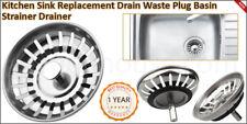 PREMIUM Stainless Steel Kitchen Sink Waste Plug Drainer / Basin Strainer NEW UK