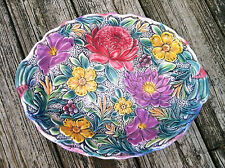 """Vintage Falcon Ware England Pottery Bowl~Colorful High Relief Floral Design~13"""""""