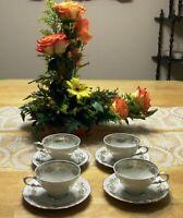 4 Vintage German Cup Saucer Set Bareuther Waldsassen Bavaria Porcelain Germany