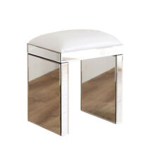 Sparkling Mirrored Glass 2 Drawer Dressing Table Stool (W/B)&Glass Desk Set