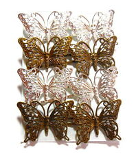 Butterfly Bobby Pins Hair Clip Accessories Filigree Metal Silver Brass Lot of 8