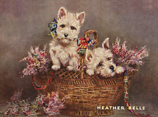 WEST HIGHLAND WHITE TERRIER WESTIE DOG GREETINGS NOTE CARD TWO DOGS IN HEATHER