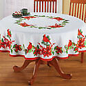 Poinsettia Cardinal Tablecloth with Red Border