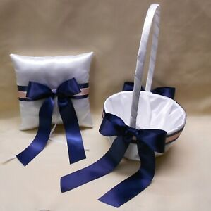 White Navy Blue Pink Blush Flower Girl Basket Ring Bearer Pillow Your Colors