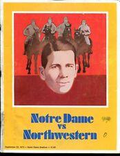 1973 Notre Dame v Northwestern Football Program 9/22/73 Ex 34577