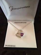 """NIB STERLING SILVER PLATED SIMULATED AMETHYST/DIAMOND DOUBLE HEART PENDANT 18"""""""
