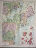 1940 MAP ~ UNITED STATES NORTH EAST NEW YORK BOSTON WASHINGTON BOSTON BALTIMORE