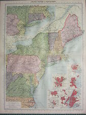 1940 mappa ~ Stati Uniti nord est di New York Boston Washington Boston Baltimore