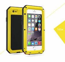 Aluminum Shockproof Dustproof Glass Metal Cover Case For iphone 5 5S Yellow