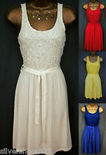 C&A LADIES CREAM RED BLUE YELLOW JERSEY FLORAL LACE SKATER SUMMER DRESS RRP£35