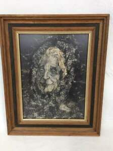 Haunting Original Art by Beverlee Mozer -Framed Mixed Media -Ghostly Portrait