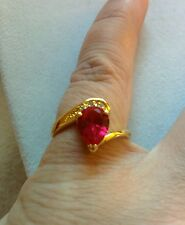 Artisan's Size 8  Red Garnet  & Cz  Ring set in yellow Gold filled New