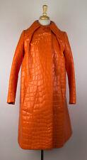 New MIU MIU Women's Orange Croc-effect Faux Patent Leather Coat Size 38/2 $3350