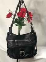 BRIGHTON Black Pebbled Leather w. Patent Leather Trimmed Shoulder Bag