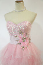 New Jovani Genuine 111052 Light Pink Formal Gown Cocktail Dress Size 2