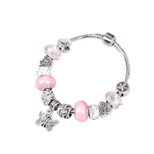 Ladies Girls Silver Crown Charms & Pink Crystal Ball Rope Chain Pandora Bracelet