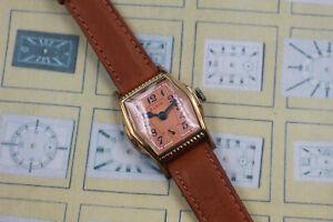 1929 Elgin Engraved Stepped Case Men's Barrel Shaped Art Deco Vintage Watch