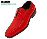 New Men's Red Black Patent Striped Oxford Shoes Lace Up's TUXXMAN Formal