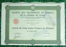 Indochine Ep. Coloniale & Paris - Ste des Transports de la Région de Hanoï  1953