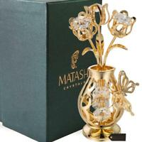 Matashi Crystal 24K Gold Plated Tulips w/ Butterfly In a Vase Great Gift