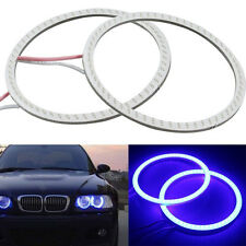 1Pair Blue 60MM COB LED Angel Eyes Headlight Halo Ring Warning Lamps 12V DC