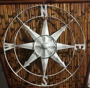 "13"" Primitive Rustic Metal Compass Wall Decor Country Farmhouse"