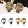 Womens Lady Antique Bronze Silver Plated Skull Pierced Stud Earrings Jewelry HOT