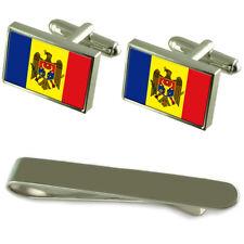 Moldova Flag Silver Cufflinks Tie Clip Engraved Gift Set