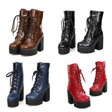 Women's Military Riding Boots Goth Punk Block High Heels Platform Boots Lace Up