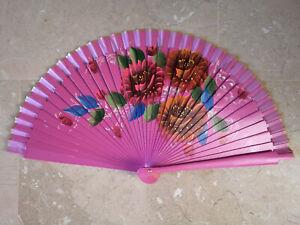 Spain Flamenco Handfächer Pocket Fan Folding Fan Wooden D Shocking Pink
