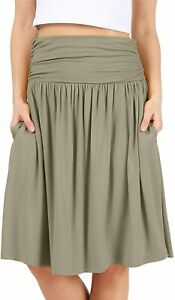 Simlu Womens Regular and Plus Size Skirt with Pockets Below The Knee Length Ruch