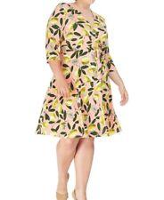 Leota Limoncello Ponte Knit Printed Perfect Wrap Dress Size 2L (2X) - No Belt