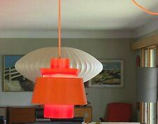 Vintage 1970s Orange Metal Danish Modern Hanging Pendant Light