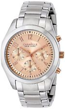 Caravelle New York Ladies Melissa Blush Easy Read Dial Chronograph Watch - New