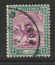 SUDAN 1921-23 3m MAUVE & GREEN SG 32 FINE USED.