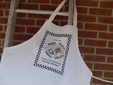 Apron, feed sack apron, white cotton chef apron, flour sack apron, country apron