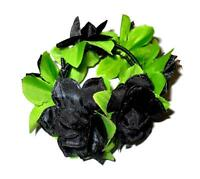 FABRIC FLOWER AND LEAVES LEAF BUN RING HOLDER GARLAND SCRUNCHIE MANY COLOURS