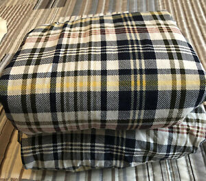 Tommy Hilfiger Blue Red Yellow Green White Plaid Full Flat & Fitted Sheets EUC
