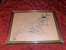 ANTIQUE PORTUGAL ORIGINAL EROTIC MALE INK OF CHINA & PENCIL DRAWING 1967