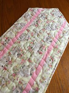 Handcrafted-Quilted Table Runner - EASTER THEME -  Bunnies Floral Background