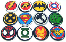 "12 SUPER HERO Logo Buttons - Pinbacks 1"" Pins Bages Retro Cartoons Comics Heroes"