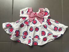 Newborn Pumpkin Patch Baby Girl Dress Cute Red White & Blue Spots With Bow