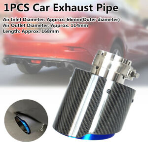 66mm Inlet Roasted Blue Carbon Fiber Steel Car Exhaust Pipe Tail Muffler End Tip