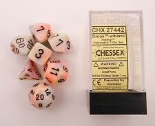 Chessex Polyhedral 7 Die Festive Circus with Black Numbers Dice CHX 27442