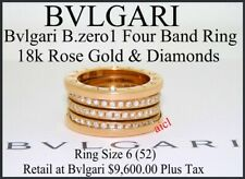 BVLGARI B.ZERO1 FOUR BAND 18k ROSE GOLD DIAMOND RING ~ SIZE 6 (52)