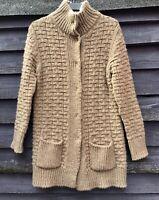ELSAMANDA Camel Acrylic/Wool/Alpaca Chunky Knit Long Cardigan Press Studs Size L