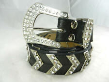 Fantastic Nocona Chevrons Rhinestone Studded Croc Embossed Leather Belt Large