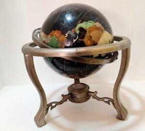 Globe World Vintage Gemstone Ocean Base Brushed Nickel Top Gem Leg Tripod Silver