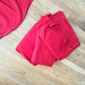 """Ikea Rivita Linen Curtain Panel 115"""" Solid Red Extra Long Faux Linen Set of Four"""