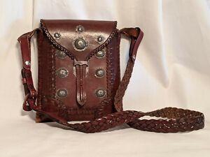 VINTAGE Collectible Native BANDOLIER BAG with NAVAJO SILVER CONCHO'S Signed S-FE